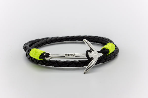 Anchor Round Braided Leather Bracelet Silver