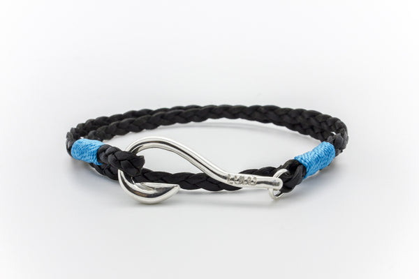 Hook Flat Braided Leather Bracelet Silver