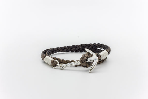 Anchor Flat Braided Leather Bracelet Silver