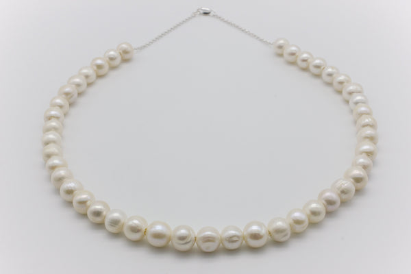 Freshwater Pearl Full Chain Necklace Silver