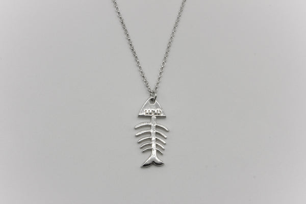Large Fish Bone Chain Necklace Silver