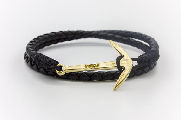 Anchor Round Braided Leather Bracelet 18K Gold
