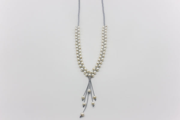 Braided Freshwater Pearl Polyester Necklace