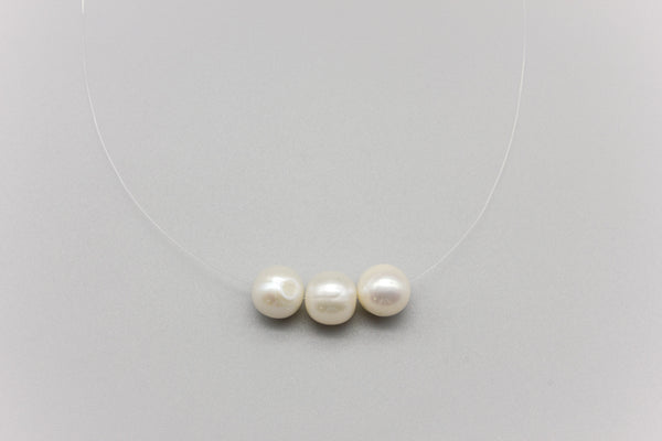 Transparent Triple Freshwater Pearl Necklace