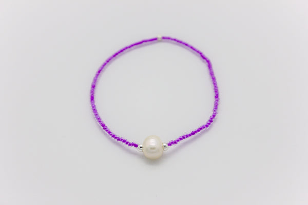 Single Freshwater Pearl and Neon Glass Beads Bracelet