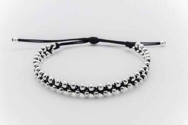 Silver Beads Braided Bracelet