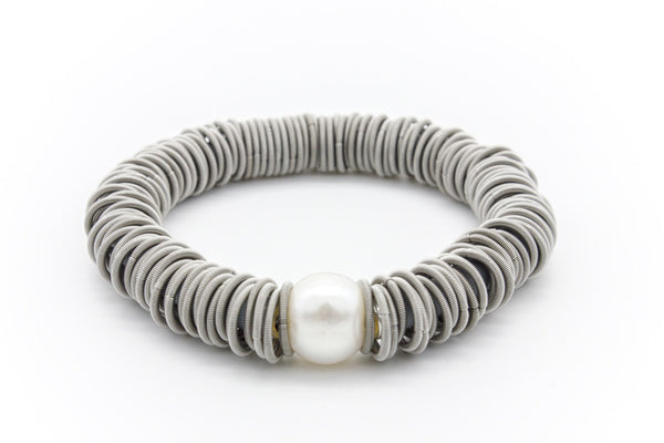 Large Single Freshwater Pearl Coil Bracelet Stainless Steel