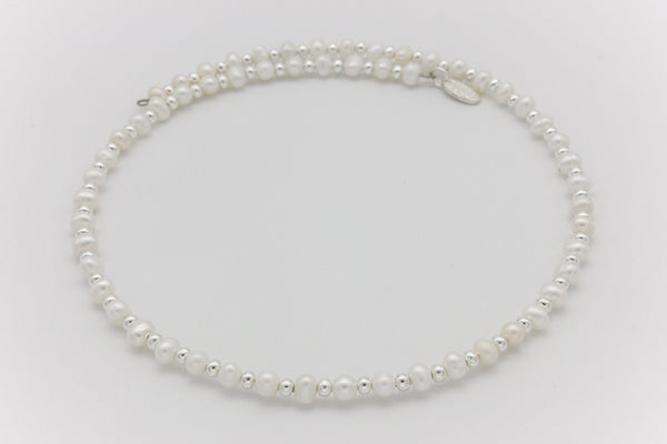 Freshwater Pearls and Silver Beads Choker