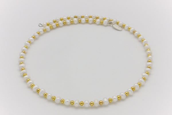 Freshwater Pearls and Gold Beads Choker