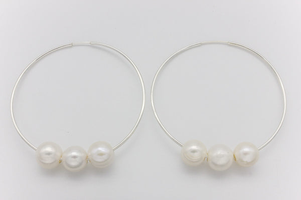 Triple Pearl And Silver Hoop Earrings Large