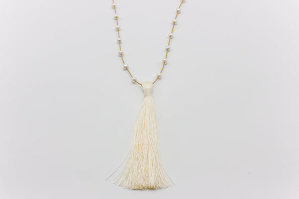 Floating Pearls and Tassel Necklace