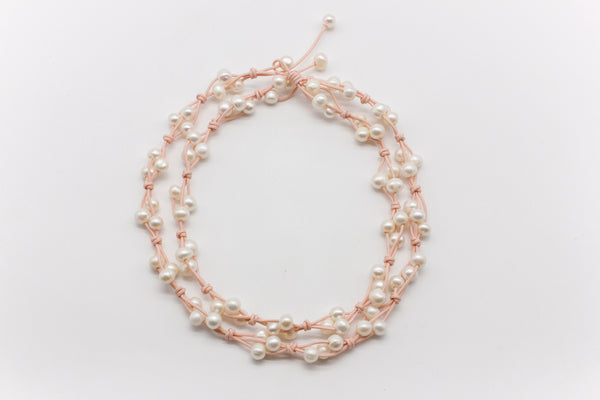 Triple Knot Freshwater Pearl Long Necklace