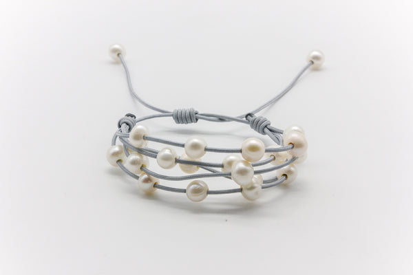 Multi-Strand Floating Freshwater Pearls Bracelet