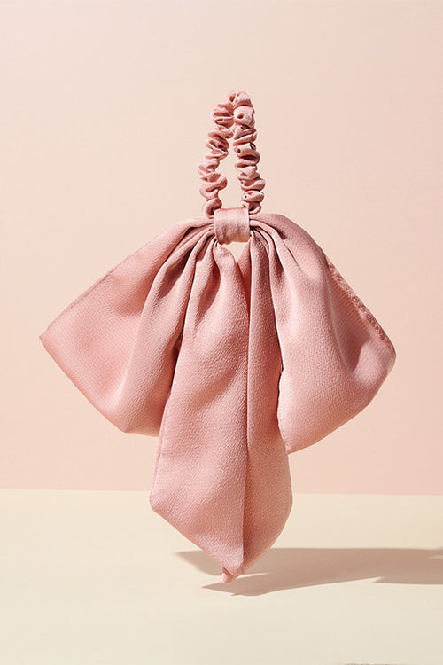 The Hair Edit Soft Blush Pink Oversized Ribbon Scrunchie Bow Hair Tie