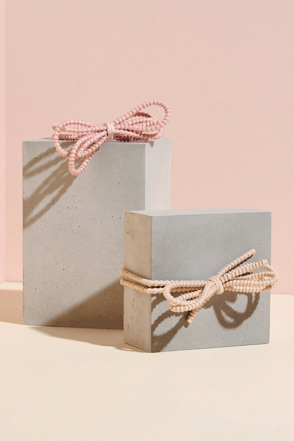 The Hair Edit blush pink knotted bow hair tie set pack of two