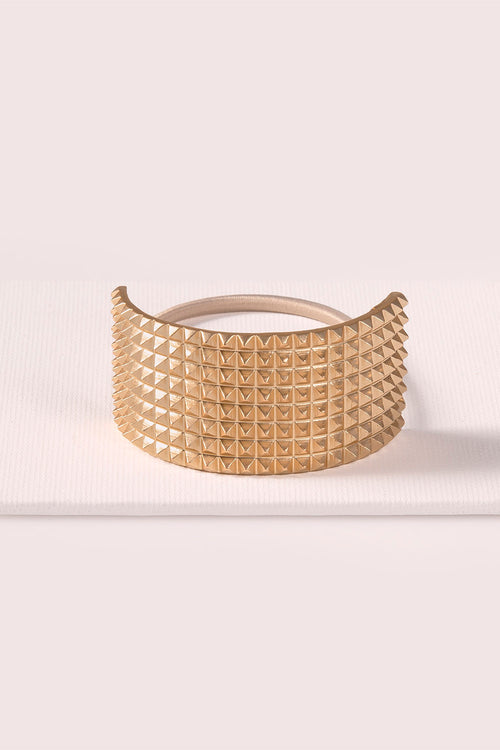 The Hair Edit Ponytail Studded Soft Gold Cuff Textured Metal Hair Tie