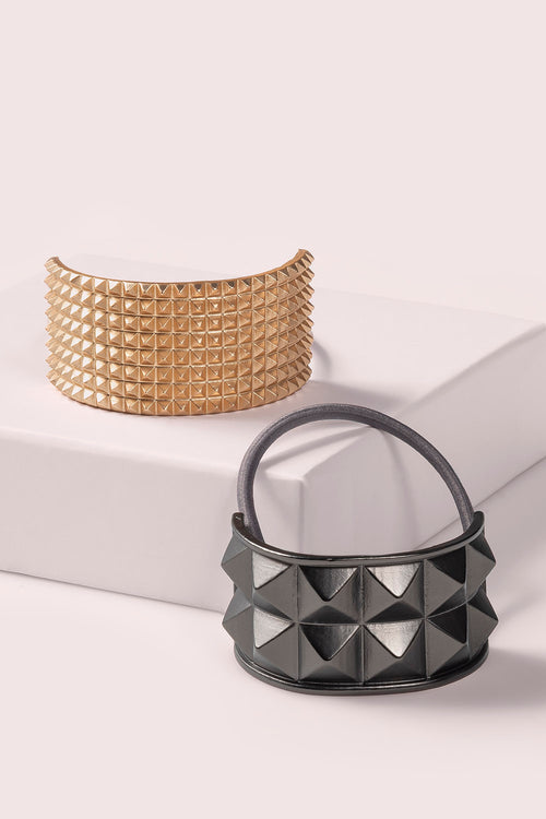 The Hair Edit studded cuff hair tie accessories in gold & gunmetal black colors