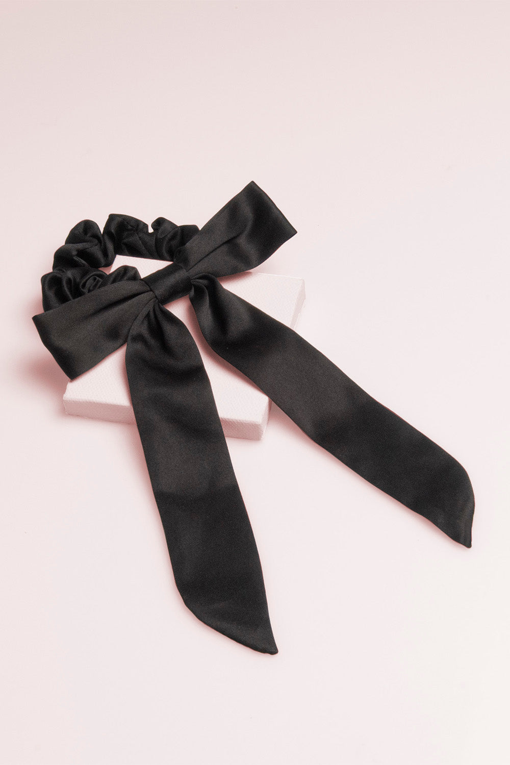 The Hair Edit black knotted ribbon scrunchie hair bow accessory