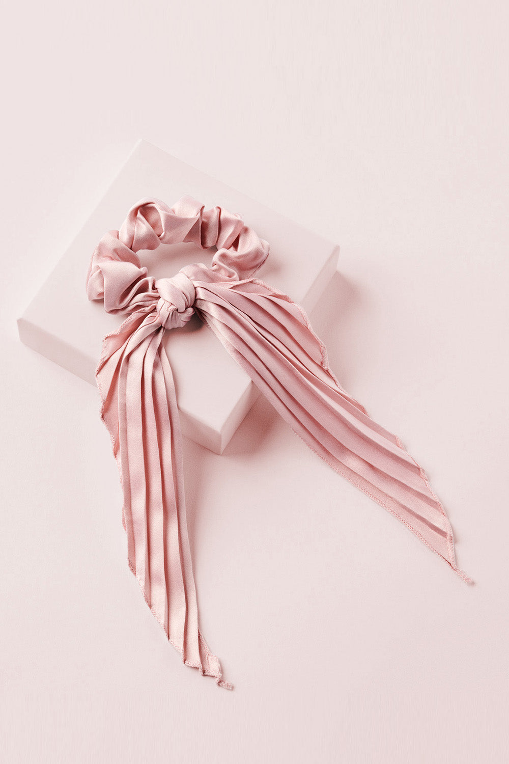 Blush Pink Pleated Ribbon Scrunchie Hair Bow