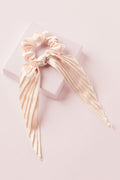Cream Pleated Ribbon Scrunchie Hair Tie