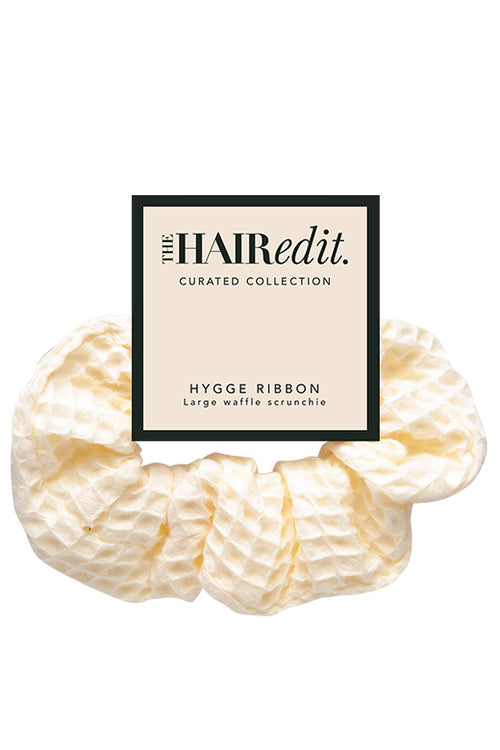 The Hair Edit Hygge Ribbon Waffle Scrunchie in packaging