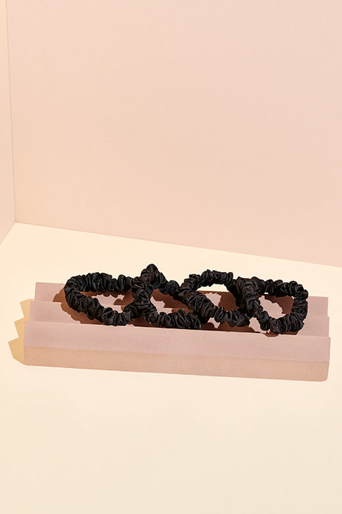 Black Satin Scrunchies - 4 Pack