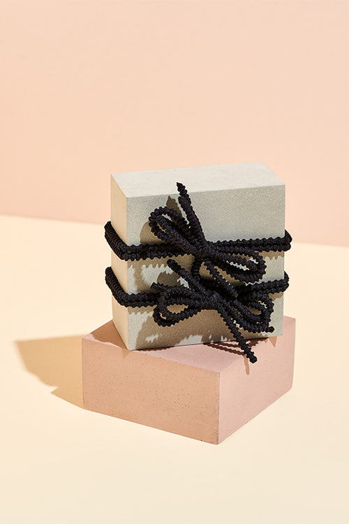 Black Knotted Bow Hair Tie Set - 2 Pack