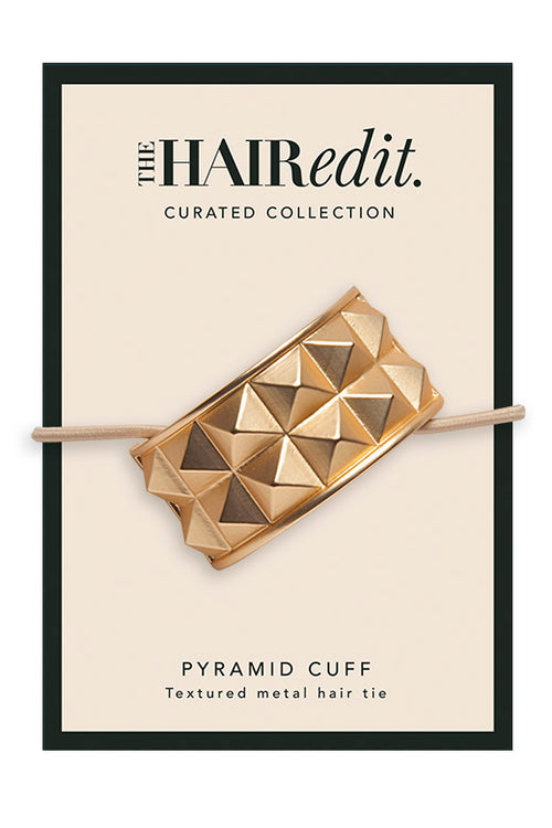 The Hair Edit Soft Gold Pyramid Studded Hair Cuff Textured Metal Hair Tie Packaging Front