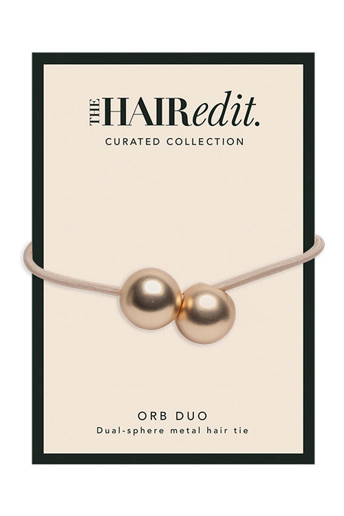 The Hair Edit Soft Gold Orb Duo Ponytail Holder Dual-Sphere Metal Hair Tie Accessory Packaging Front