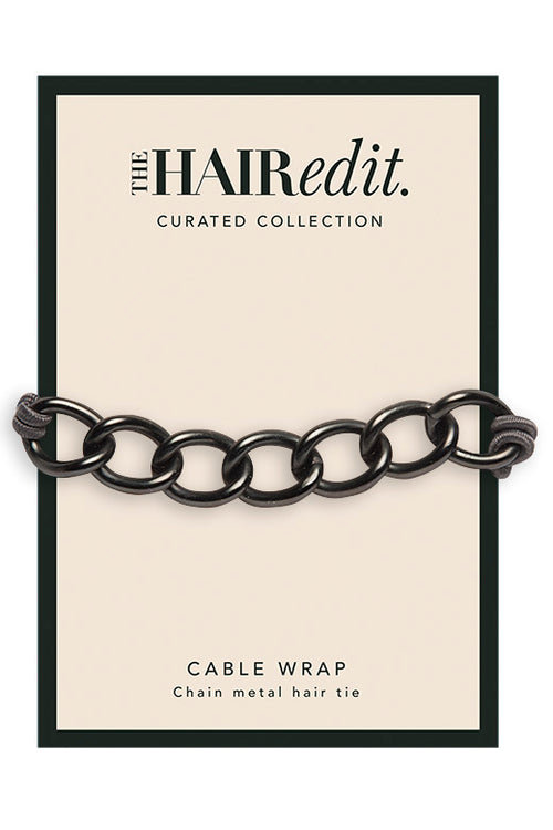 The Hair Edit Accessories Ponytail Gunmetal Cable Wrap Chain Hair Tie Packaging