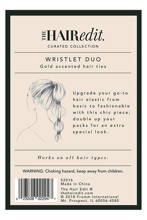 The Hair Edit Wristlet Duo Gold Accented Hair Ties packaging back