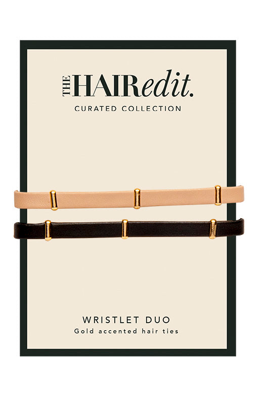 The Hair Edit Wristlet Duo Gold Accented Hair Ties packaging front