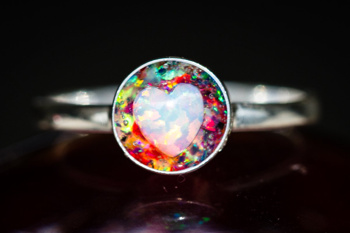 Silver ring with Crushed Opal