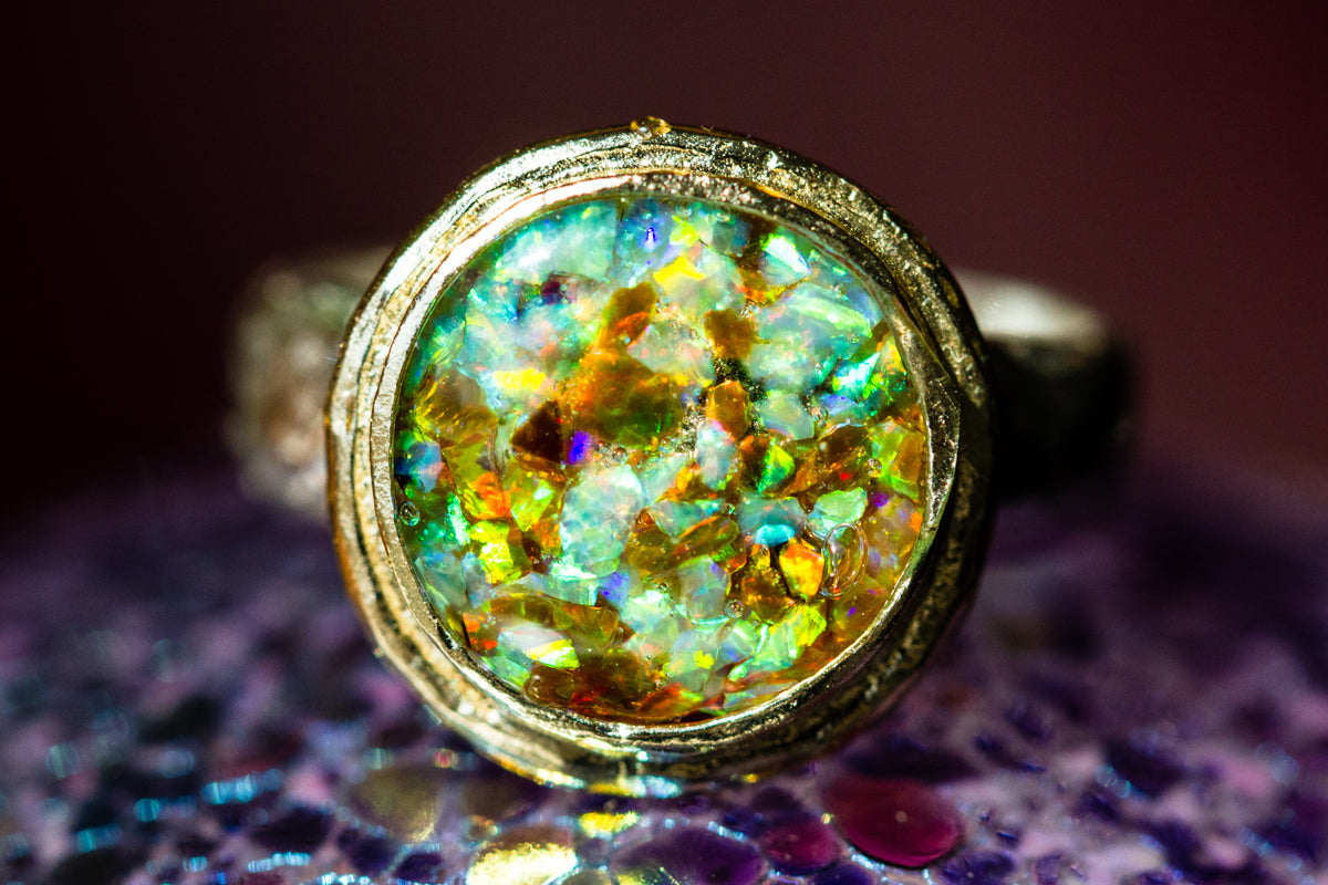 gold plated ring with opals