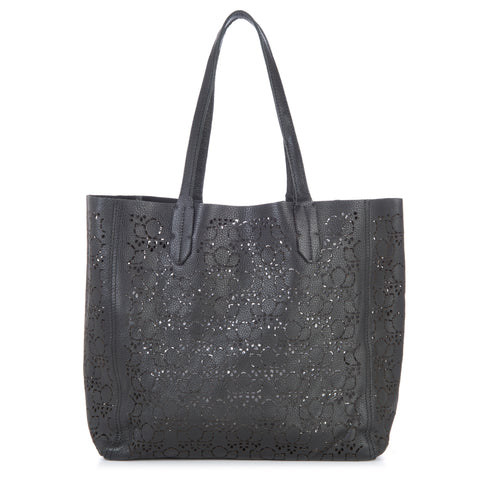 Pattern Signature Leather Bag - Black