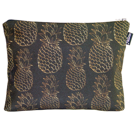 Gold Pineapples Scene Pouch