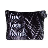Live Love Beach Black Palms Scene Pouch