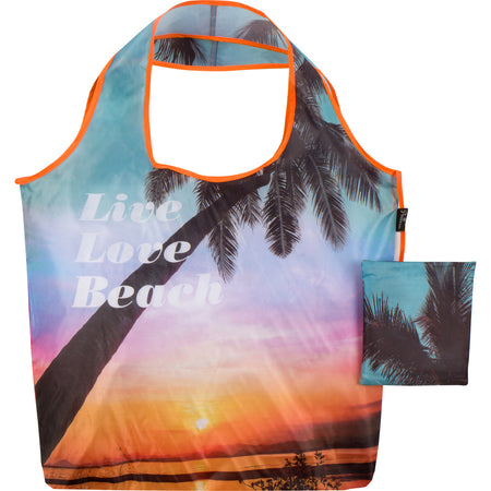 Live Love Beach Reusable Folding Bag