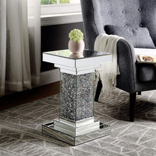 Load image into Gallery viewer, Mirror Accent Table for Living Room With Crystal Diamond Inlay - Elegance & Splendour