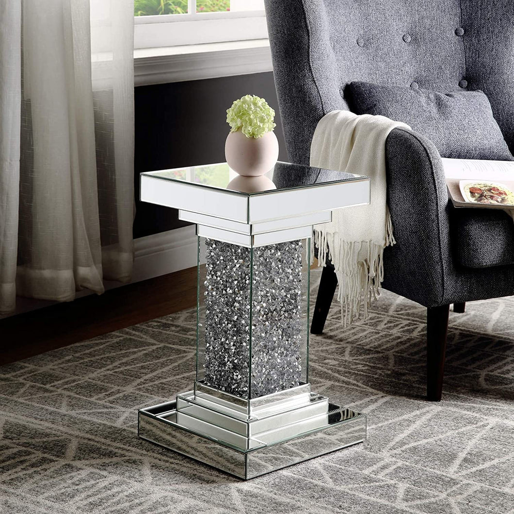 Mirror Accent Table for Living Room With Crystal Diamond Inlay - Elegance & Splendour