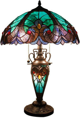 Tiffany Style Green Liaison Table Stained Glass Lamp - Elegance & Splendour