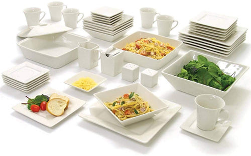 Luxury 45-Piece Porcelain Square Dinnerware - Elegance & Splendour