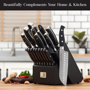 Premium Kitchen Knife Set With Wooden Block - 19 Piece - Elegance & Splendour