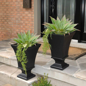 Square Pedestal Elegant Planter-A Set Of 2 - Elegance & Splendour