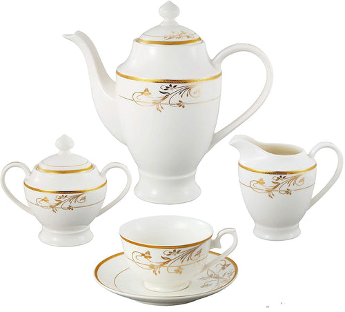 Designer Dinnerware Set - High End Bone China 57 Pcs 24K Gold Floral , Serves 8 - Elegance & Splendour