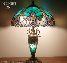 Load image into Gallery viewer, Tiffany Style Green Liaison Table Stained Glass Lamp - Elegance & Splendour