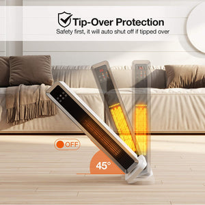 1500W PTC Ceramic Tower Portable Electric Heater - Oscillating With Remote Control - Elegance & Splendour