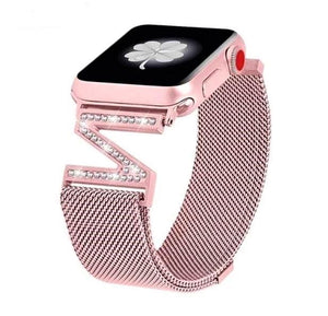 A High End Milanese Mesh Loop Bracelet Diamond Strap For Apple Watch