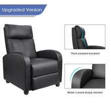 Load image into Gallery viewer, Faux Leather Manual Recliner With Massage - Elegance & Splendour