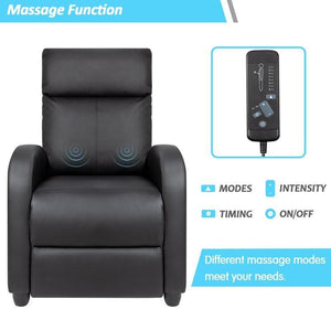 Faux Leather Manual Recliner With Massage - Elegance & Splendour